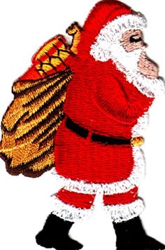 "[Single Count] Custom and Unique (3"" x 2 1/4"" Inches) Seasonal Holiday Festive Santa Clause & Sack of Presents Iron On Embroidered Applique Patch {Red, White & Gold Colors} mySimple Products"