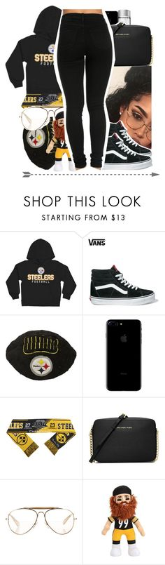 """steeler nation"" by charming-216 ❤ liked on Polyvore featuring Vans, MICHAEL Michael Kors and CÉLINE"