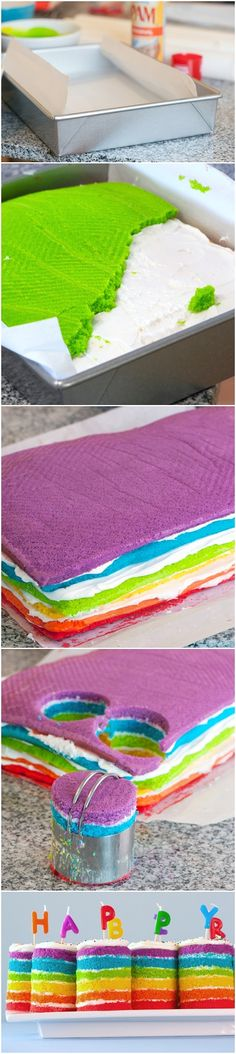 Teeny Tiny Rainbow Cakes  Oh My Goodness!  This looks so cute!   ... And I love a layered cake!