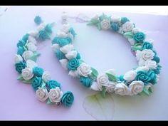 Бело-бирюзовый комплект из роз (полимерная глина) - YouTube