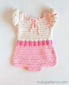 Crochet Baby Romper - Pink Flamingo pattern by Croby Patterns , Baby Romper Pattern, Crochet Baby Dress Pattern, Crochet Romper, Crochet Bebe, Baby Girl Crochet, Crochet Clothes, Crochet Patterns, Kids Crochet, Crochet Ideas