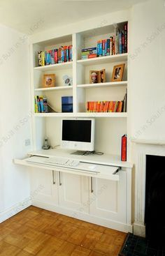 Built in Alcove cabinet design pull out desk cabinets and book shelves
