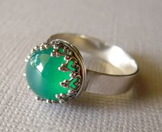 Emerald Onyx Ring Argentium Silver Sterling Silver by jewelqueen, $45.00