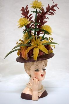 Vintage Head Vase NAPCO Floral Lady, Brown Dress/Hat with Original Flowers