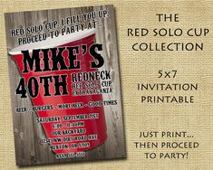 the Red Solo Cup Collection  Customized Birthday Invitation by SassyBDass, $8.00 Redneck Party Supplies