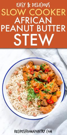 This slow cooker African peanut soup (Crockpot African Peanut butter stew) is a oh-so-comforting, fragrant and warm dish that is so easy to make. Your whole family will love the authentic traditional African flavour combinations in this recipe. Vegetarian Crockpot Recipes, Easy Healthy Recipes, Easy Dinner Recipes, Slow Cooker Recipes, Appetizer Recipes, Dinner Ideas, Chicken Recipes, African Stew, African Peanut Stew