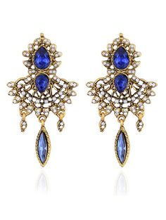 Water Drop Rhinestone Faux Peal Earrings #men, #hats, #watches, #belts, #fashion, #style