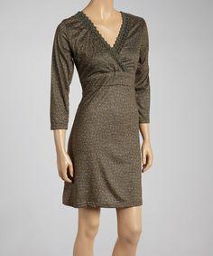This Khaki Lace-Trim Surplice Dress is perfect! #zulilyfinds