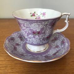 "Royal Albert ""True Love"" Purple Tea Cup and Saucer, White Lace Pink Rose Teacup and Saucer"