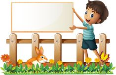 Ilustração de Illustration of a boy holding a framed board in the garden on a white background arte vetorial, clipart e vetores stock.