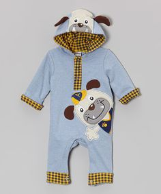 Look what I found on #zulily! Blue Puppy Hooded Playsuit - Infant by Baby Essentials #zulilyfinds
