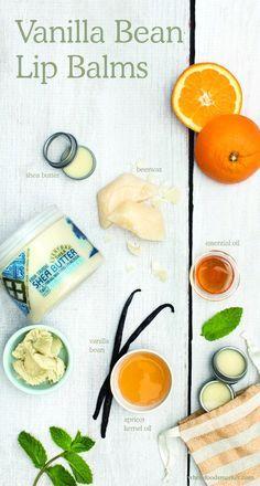 Vanilla bean Lip Balms | Natural Beauty DIY | Holistic Cosmetics | Do it Yourself | Oranges, Shea Butter, Beeswax, Essential Oil, Apricot Kernal Oil, Vanilla Bean