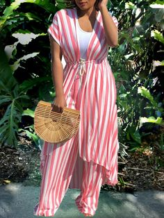 Pink Striped Print Drawstring Two Piece Casual High Waisted Wide Leg Palazz Jumpsuit With Cardigans Pink Striped Print Drawstring Two Piece Casual High Waisted Wide Leg Palazz Jumpsuit With Cardigans - Jumpsuits and Romper Best African Dresses, Latest African Fashion Dresses, African Print Dresses, African Print Fashion, Plus Size Fashion For Women, Womens Fashion Online, Casual Dress Outfits, Fashion Outfits, Two Piece Pants Set