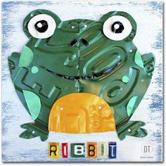 Trademark Fine Art 'Ribbit the Frog' Canvas Art by Design Turnpike, Size: 18 x 18, Multicolor