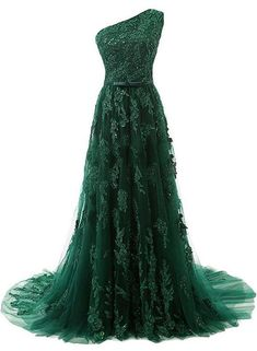 2017 Custom Made Dark Green Prom Dress,One Shoulder Sexy Party Dress,Beading Appliques Evening Dress,Chiffon Party Dress - Party & Wedding Evening Dress Long, Chiffon Evening Dresses, Tulle Prom Dress, Evening Gowns, Dress Wedding, Lace Dress, Evening Party, Lace Gowns, Dress Sleeves