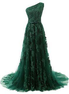 Green Tulle Elegant Party Dresses, One Shoulder Applique Formal Dresse – BeMyBridesmaid