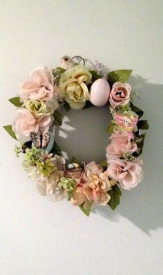 Handmade Pink & Yellow Easter Door Wreath by cappelloscreations, $25.00 @Etsy  My First Handmade Wreath!! Not too Bad!! Check it out!