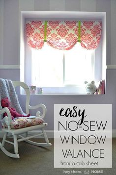 How to make a no sew valance from a crib sheet hanging curtains, diy curtai No Sew Valance, No Sew Curtains, Cheap Curtains, Boho Curtains, Burlap Curtains, Hanging Curtains, Roman Curtains, Short Curtains, Vintage Curtains