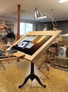 Drawing Machine Huge Screen - Digital Drafting Table Board - Draw on the screen with fully pressure sensitivity, Digital Artist OOAK Table Furniture, Cool Furniture, Office Furniture, Bachelor Room, Wood Drafting Table, Drawing Desk, Drawing Board, Artist Workspace, Drawing Machine