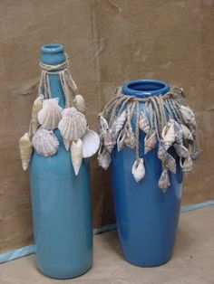 Shells on Twine around Jar or Bottle
