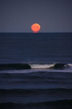 Morning Red Moon, Oregon Coast Julie ~ By the Sea ~