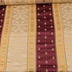 Damask Satin Fancy Striped Fabric Upholstery Decor Gold Burgundy Brocade 2 Yds #Unbranded