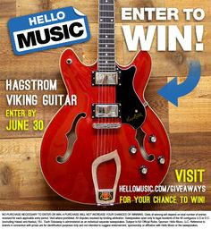 This month, Hello Music is giving away this sweet Cherry Red Hagstrom Viking Semi-hollowbody Electric Guitar! Enter by June 30, 2015 at 11:59pm CST and share with your friends for bonus entries! Enter here: bit.ly/1KL30G7