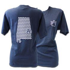 T-Shirt, Comfort Color Chevron State   Auburn University Bookstore