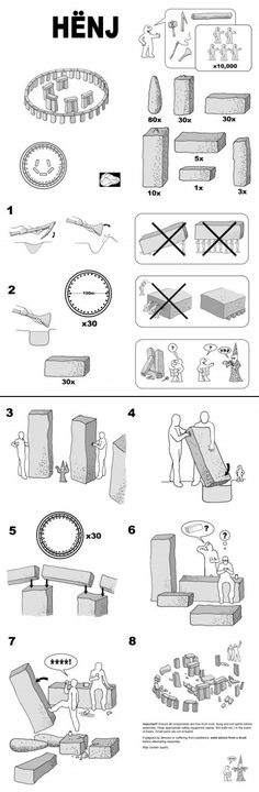 DIY Stonehenge  Important! Ensure all components are free from mud, dung and evil spirits before assembly. Wear appropriate safety equipment (spear, ??, etc.) in the event of bears. Small parts are not included  If plagued by demons or suffering from pestilence, seek advice from a druid before attempting assembly.  May contain quartz.