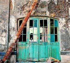 door in abandoned building
