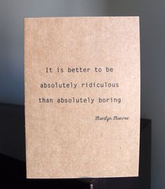 Marilyn Monroe quote card  kraft card with by LittleWhiteMouse, $2.50 #MarilynMonroe #quote