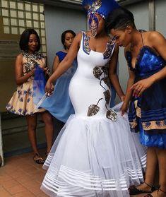 Wedding Shweshwe Dresses for 2019 ShweShwe 1 African Bridesmaid Dresses, African Wedding Attire, African Attire, African Dress, African Weddings, African Print Wedding Dress, Nigerian Weddings, African Traditional Wedding Dress, Traditional Wedding Attire