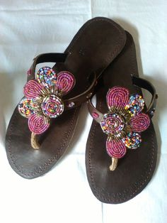 Arabesque - African Kenyan Handmade Leather Beaded Sandals, Flip flops,  Thongs