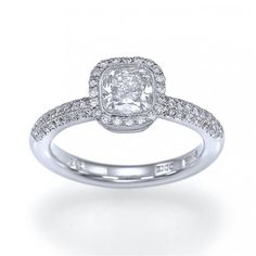 "Cushion Star "" Bezel Set Halo Cushion Cut #Diamond #Engagement #Ring with Pave Accents  Short Description    Vintage antique style, cushion cut diamond engagement ring with a halo bezel setting for 0.75 - 1.00 carat diamonds and 0.40ct of accented F/VS diamonds."