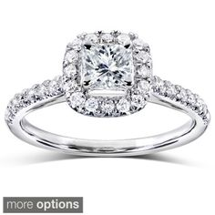 Annello 14k White, Yellow, or Rose Gold 3/4ct TDW Princess and Round Halo Diamond Engagement Ring