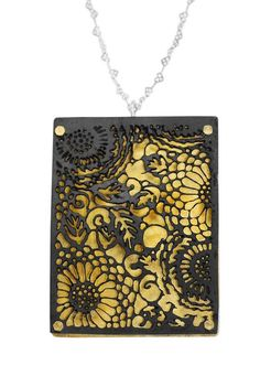 """Anne Bulmer Brewer  """"Chrysanthemum Lace"""" Pendant1  Etching, fabrication, gold leafing, cold connections, patina  Fine Silver, 24K Gold Leaf, Copper    Available at Karen Gabaldon Fine Arts Gallery, Durango"""
