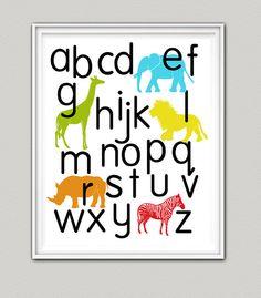 Nursery art, Alphabet Poster,Jungle Animals, ABC childrens art, Safari Decor,11x14