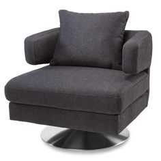 Bora Modern Swivel Fabric Chair - Charcoal Grey | Zuri Furniture