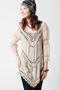 Cream Crochet Tunic from Earthbound.. I need this!