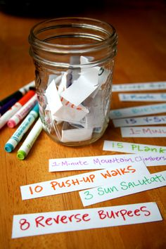Love this idea: write down a work out on scraps of paper put it in a jar next to your bed right when your alarm clock go's off pick out one paper and do that work out right away!