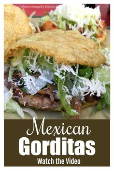 Making Mexican Gorditas at home is a lot easier than you think. These corn dough cakes are made of masa harina and stuffed with a YUMMY filling. Raw Food Recipes, Mexican Food Recipes, Beef Recipes, Dinner Recipes, Cooking Recipes, Dinner Ideas, Mexican Desserts, Freezer Recipes, Freezer Cooking
