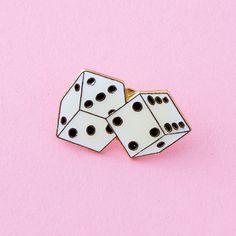 roll the dice vintage enamel lapel pin