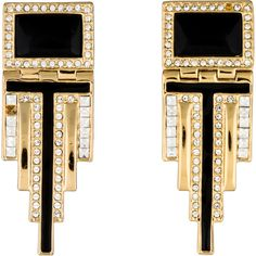 Pre-owned Rachel Zoe Deco Drop Earrings ($95) ❤ liked on Polyvore featuring jewelry, earrings, art deco earrings, drop earrings, pre owned jewelry, enamel earrings and black and white jewelry