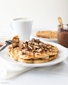 buttermilk banana waffles with nutella