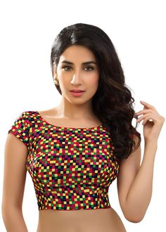 Multi Color Checkered Print Fashionable Saree Blouse SNT-X-282-SL