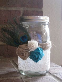 Custom Ball Jar with Fancy Rustic TrimmingsQuart by JustKateEtc, $10.00