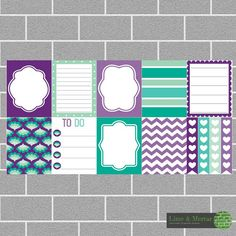 PLANNER SQUARE STICKERS - PURPLE PEPPERMINT PACK INCLUDES: 9 squares and 4 checklists