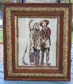 """This is a painting I did of Sitting Bull and Custer. This was done in sepia tone watercolor. The frame is antique. 26"""" x 30"""". $350."""