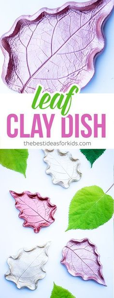 These leaf clay dish DIY are SO beautiful! This is a fun fall craft using leaves to make your own clay or ring dish. #fallcraftforkids