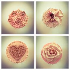 Rose gold vintage style cupcake toppers